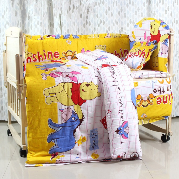 Фото Promotion! 6PCS Baby Bedding Set Cartoon  Character Crib Bedding Set Cotton Baby Bedclothes (3bumpers+matress+pillow+duvet). Купить в РФ