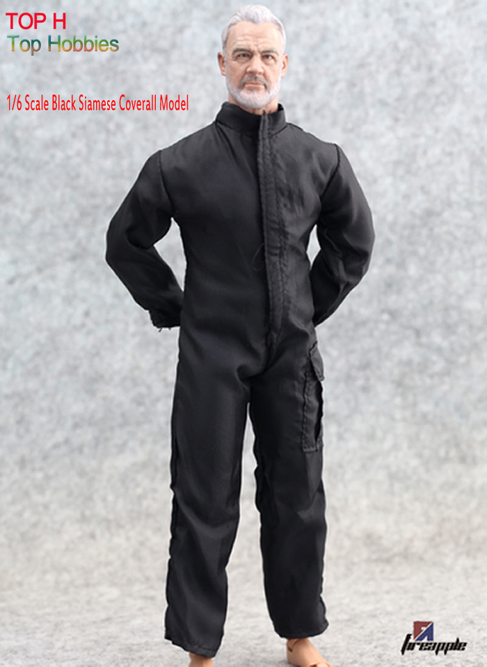 1/6 Scale Black Suit Clothes Jumpsuits Soldier Coveralls For 12 Phicen Hot Toy Action Figure Toys jiaou doll clothes