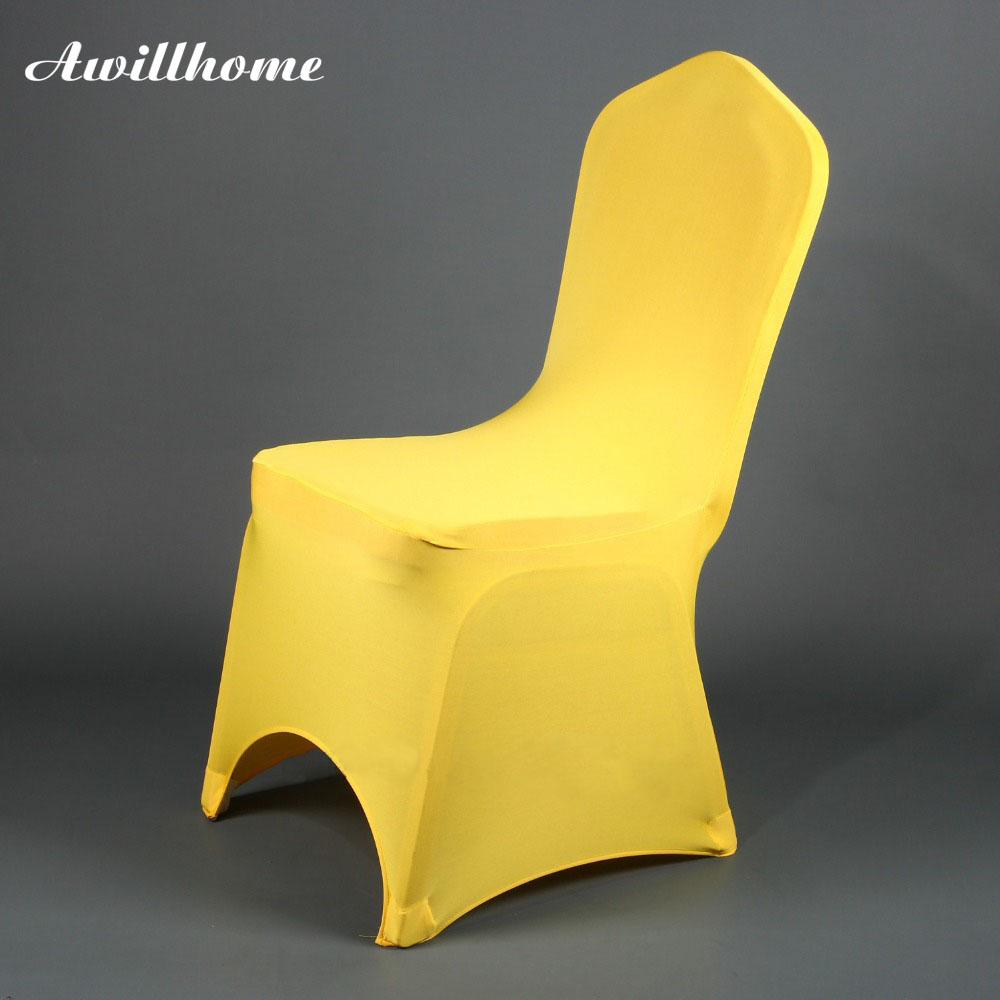 Yellow Chair Covers Aliexpress Buy Awillhome Shipping Free By 100pcs Good Quallity Lycra Yellow Spandex Chair Covers For Wedding Decortation From Reliable Chair