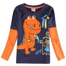 Boy Long Sleeve T-Shirt Cotton Print Dinosaur Figure Cartoon Boy Child Wearing Round Neck Long Sleeve Top T-Shirt A6501 cotton notch neck long sleeve t shirt