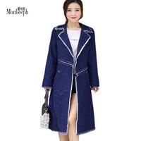 2018 חדש מגניב לונג ג 'ינס נשים מעילים מלא כחול עמוק בציר slim הסגנון המערבי גבירותיי ינס מעילי רוכסן Monbeeph S-4XL