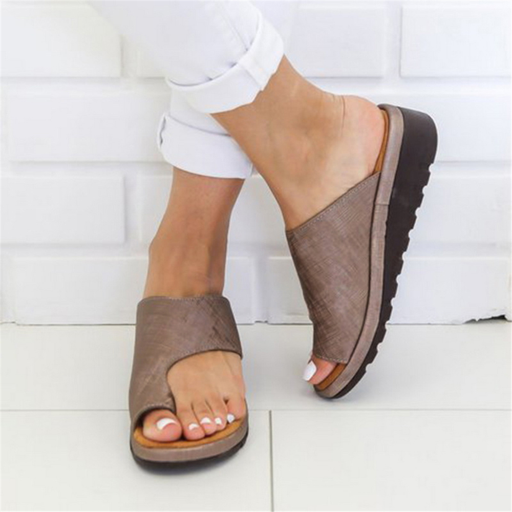 LASPERAL Women PU Leather Shoes Comfy Platform Flat Sole Casual Soft Big Toe Foot Correction Sandal Orthopedic Bunion CorrectorLASPERAL Women PU Leather Shoes Comfy Platform Flat Sole Casual Soft Big Toe Foot Correction Sandal Orthopedic Bunion Corrector