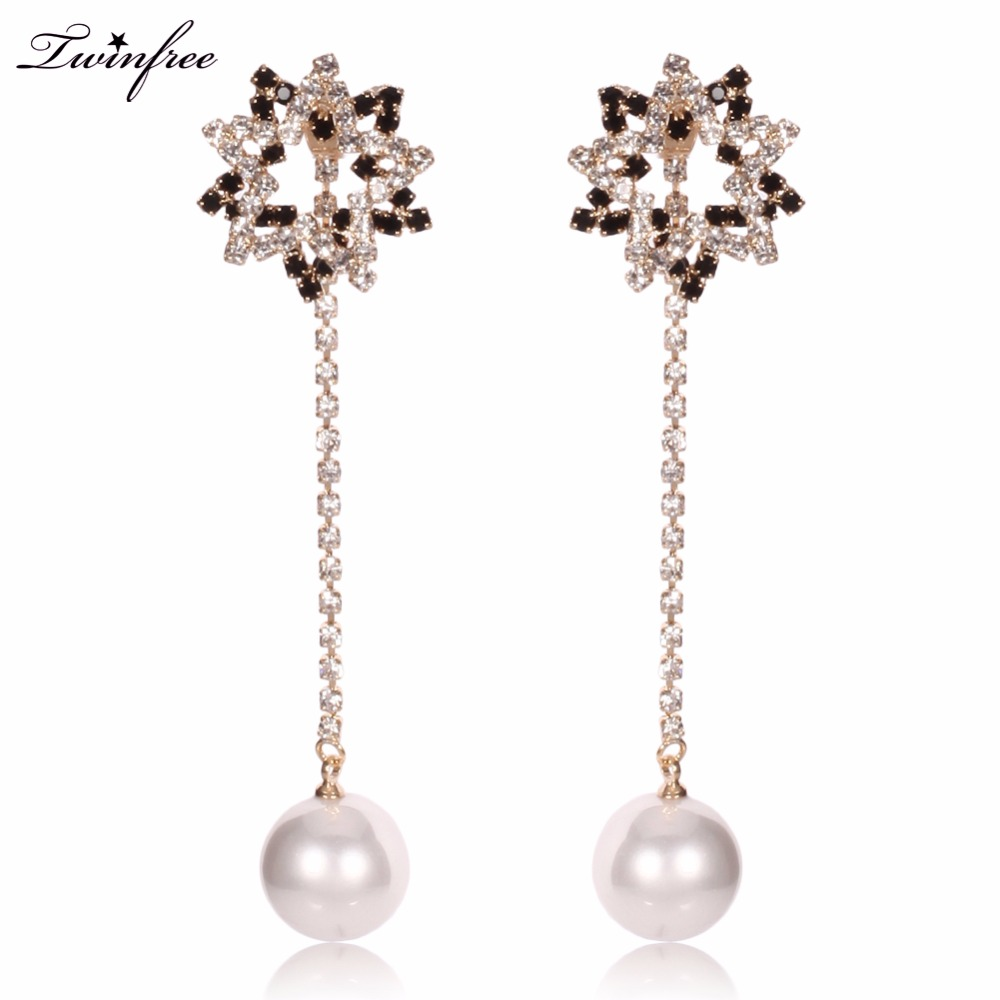 Silver Color Elements Austrian Crystals  Pearl Flower Earrings Hy
