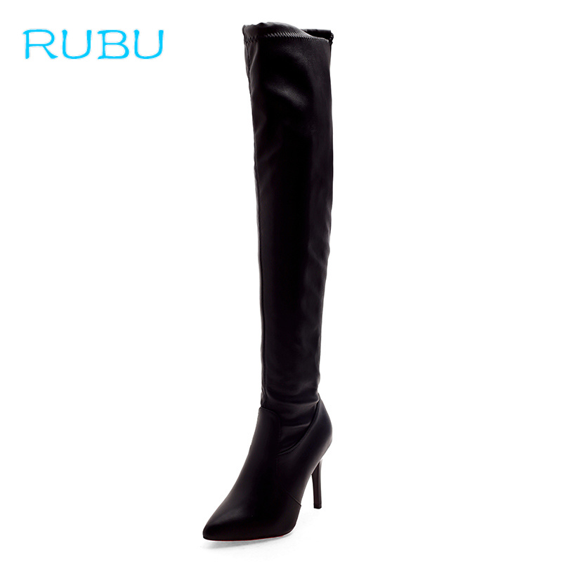 Women Boots 2019 Over The Knee High Boots Slip on Winter Shoes Thin High Heel Pointed Toe All Match Sexy Party Boot цены