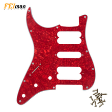 Pleroo Guitar parts left handed pickguards with 11 Screws For fender Player Startocaster HSH Scratch Plate PLAYER SERIES PICKUPS