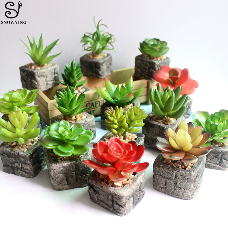 Artificial Succulent Plant mini Stone Potted Plants for ...