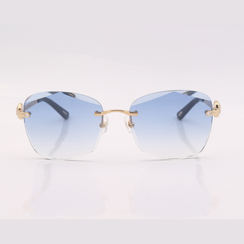 Square Rimless clear blue gradient lens sunglasses women with crystal gafas de sol mujer