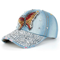 Summer Women Men Butterfly Denim Rhinestone Baseball Cap Snapback Hip Hop Flat Hat 180126 1