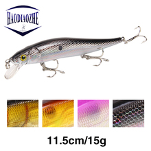 Купить с кэшбэком HAODIAOZHE 12cm 13.5g Minnow Fishing Lure Quality Hard Bait Iscas Artificiais Crankbaits Wobblers Dive 1.5m Fishing Tackle YU66