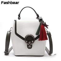 New Fashion Women Backpack Waterproof Korean Style Multi Purpose Travel Backpack Tassel Panelled White Messenger Shoulder