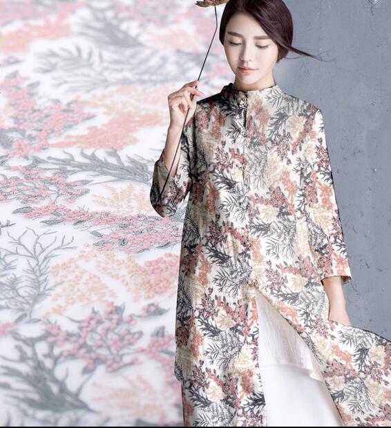 Couture mousseline de soie textile mètre tissus pour robes patchwork, tissu au mètre, impression satin matériel floral processus tecido, C093