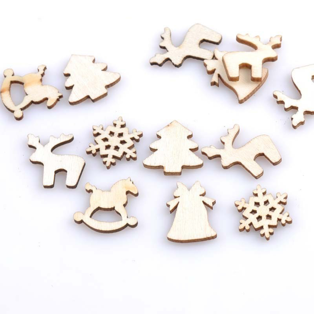150pcs Mixed Wood Log Slices Christmas Discs Christmas Tree Fawn ...