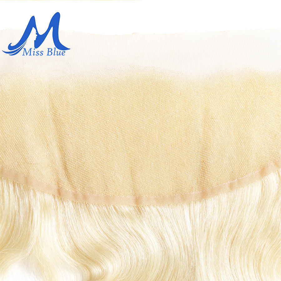 Missblue 13x4 синтетический fronto синтетическое Закрытие с волосами младенца прямой цвет 613 блонд бразильский уха к уху Remy человеческие волосы Кружева Закрытие