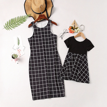 2019 Mother Daughter Dresses Sleeveless Printed Lattice Clothes Mommy and Daughter Family Matching Outfits mother daughter dresses 2018 christmas family matching outfits mother