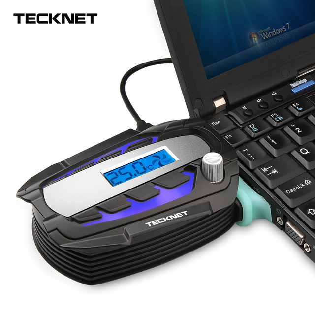 TeckNet Portable Notebook Laptop Cooler USB Fan Cooling Air Cooler Speed Adjustable with LCD Temperature Display for 12-17 inch