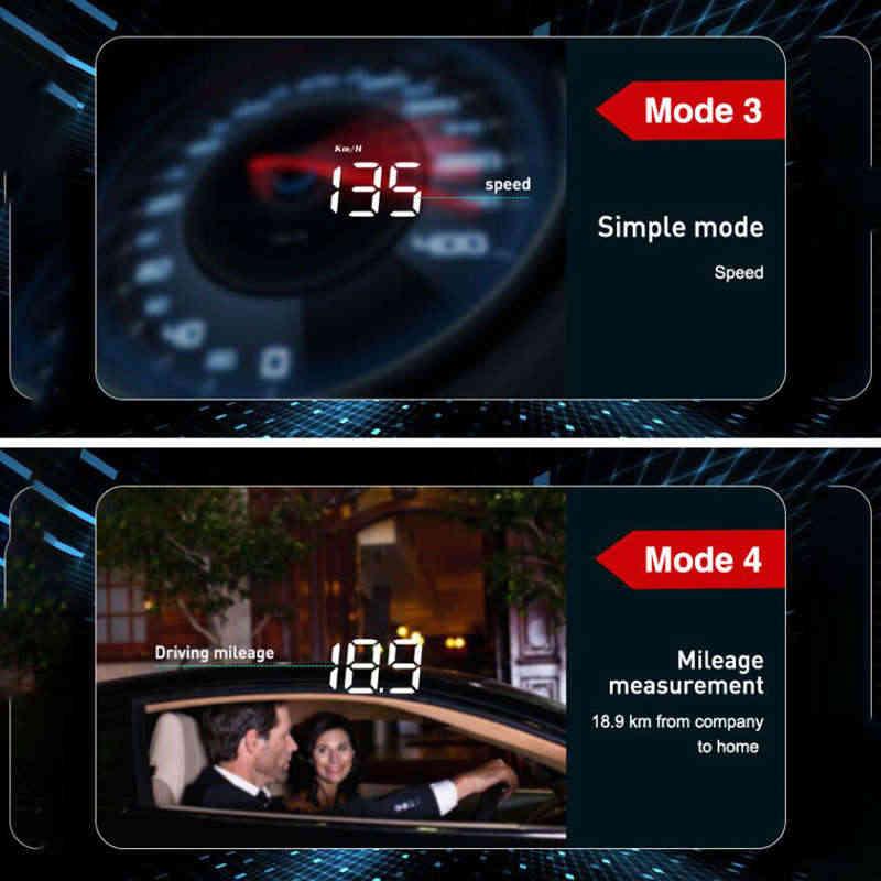 3.5 بوصة العالمي سيارة رئيس متابعة العرض Hud Obd Ii Obd2 Mph/Km/H مسرعة تحذير الرقمية عداد السرعة عرض استهلاك الوقود