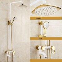 Dofaso tiled showers Golden & white paint Shower Bathtub Faucet Wall Mount Bathroom 3 handle shower faucet set antique