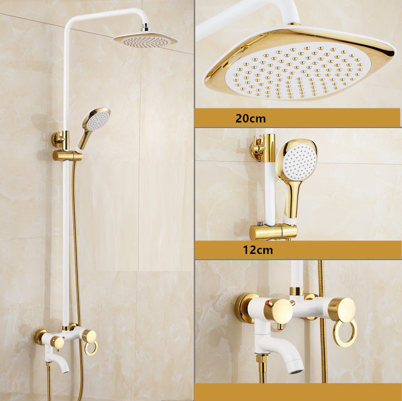 Free Shipping Polished Golden & Grilled white paint Shower Bathtub Faucet Wall Mount Bathroom Rainfall dso505