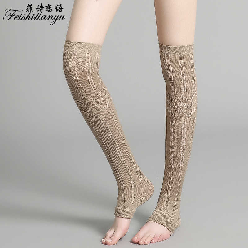 74e668d9f ... Feishilianyu Winter Thigh Over The Knee Thigh High Cotton Opaque Footed  Tights Pantyhose Knitting Thick Tights ...