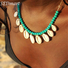 SEDmart Fashion Natural Shell Crystal Beaded Pendant Necklace for Woman Girl Statement Choker Stone Chain Jewelry Gift Souvenir