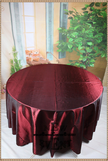 new design for 2016 90 108 128 burgundy taffate tablecloth for wedding party