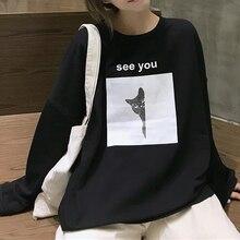 Women Plus Size O-Neck Pullovers Sweatshirts Female Loose Full Sleeve Cartoon No Cap Casual Fashion Sweatshirt