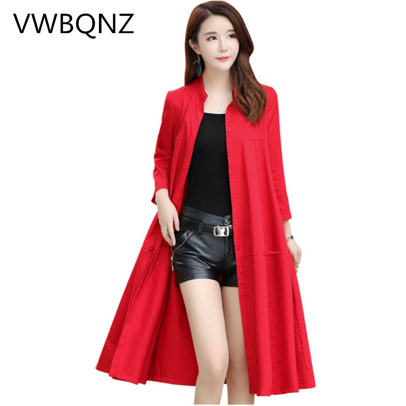 Spring Autumn Women's Coat 2019 Fashion Large Size Loose Trench Coat Single-breasted Women's Casual Temperament Long Windbreaker