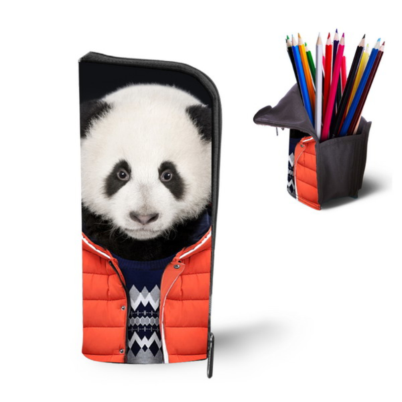 Cute Vintage Panda Print Makeup Bag Woman School Pencil Bag Fashion Girls Make Up Cosmetic Bag Big Boys Girls Pen Case  multifunction cosmetic cases women make up bag punk skull print kids boys pencil pen bag for school boys girls stationary holder