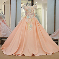 Women Lovely Pink Flowers Evening Dress Floor Length Short Sleeves Corset Back Ball Gown Prom Dress