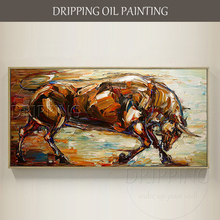 Expert Artist Hand-painted High Quality Palette Knife Bull Oil Painting on Canvas Handmade Textured Strong Bull Oil Painting цена