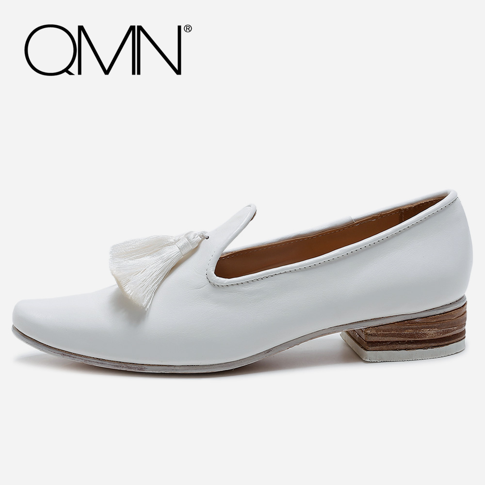 QMN women genuine leather flats Women Leather Moccasins Slip On Casual Shoes Woman White Leather Loafers Women Shoes Size 34-40  qmn women genuine leather flats women horsehair loafers retro square toe slip on flat platform shoes woman creepers 34 42
