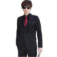 Мужская на осень зиму корейский Костюм Мода деловой костюм куртка Штаны мужские свадебные костюмы и Штаны Блейзер торжественное платье