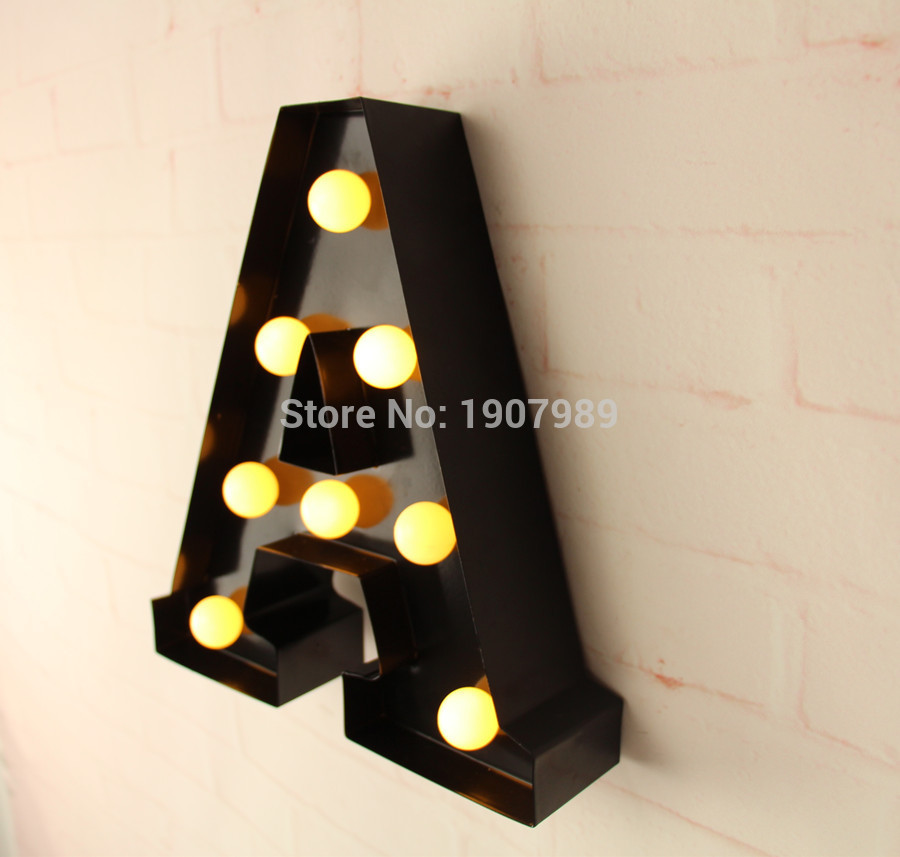 9 metal Letters light LED alphabet Marquee Sign LIGHT UP Vintage metal letter signs light Indoor wall Deration customize order metal bar led marquee sign light up vintage signs light bar indoor deration page 2