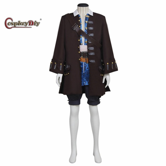 Cosplaydiy Pirates of the Caribbean Captain Jack Sparrow Costume Adult Men Halloween Carnival Cosplay Clothes Custom Made J10