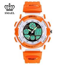 SMAEL Waterproof Sports Watches Children's Quartz Chronograph LED Dual Display Clock Child Outdoor Digital Watch kids Gift Watch