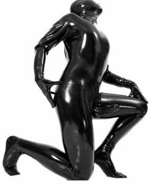 Watermonkey Trajes marca homens roupas de couro sexy PVC preto Com bainhas de pênis dos olhos e boca aberta