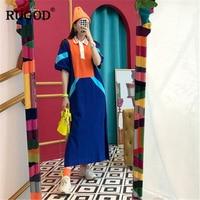 RUGOD 2019 New Arrival Women Contrast Color Dress Polo Callar Half Sleeves Straight Vestidos Vintqage Temperament платье