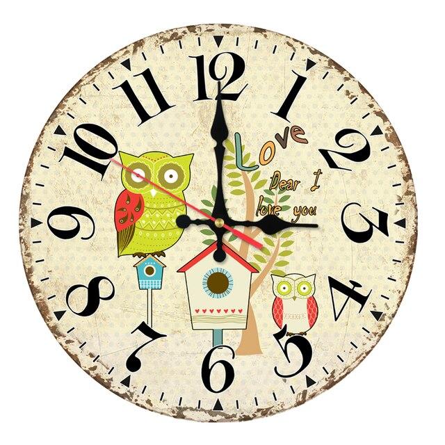 2017 wall clock home decor wooden clocks watch quartz single face ...