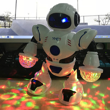 Moving Funny Light Kids Gift Smart Dancing Robot Battery Operated Space With Music New Year LED Flas