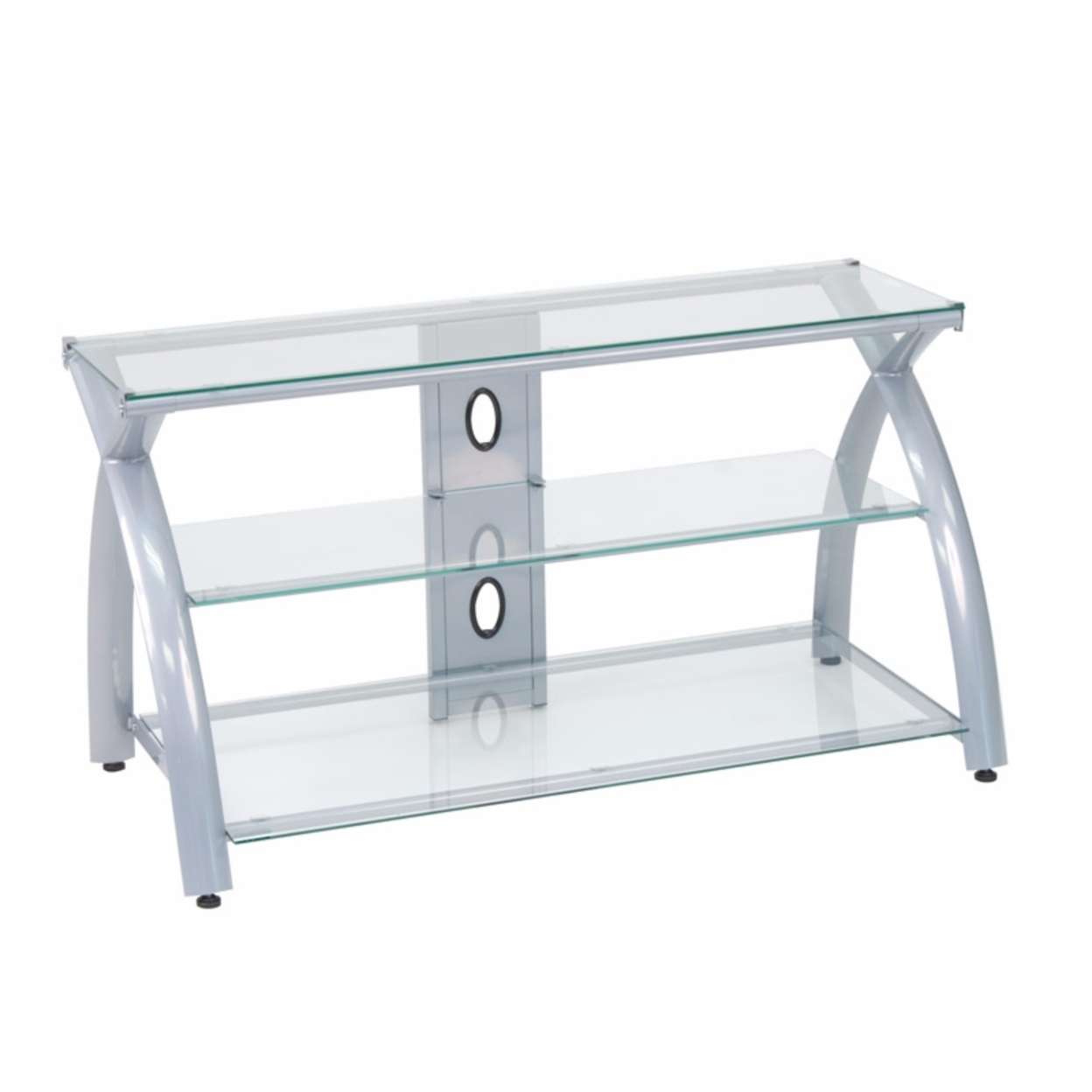 Offex Home Office Futura TV Stand Glass - Silver/Clear