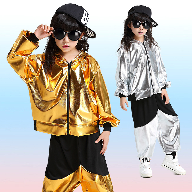 Jazz Faux Leather Gold Silver Hip Hop Dance Costumes For Kids Zipper Jackets With Hood Pant Boys Girls Street Dance Clothes dance is for everyone