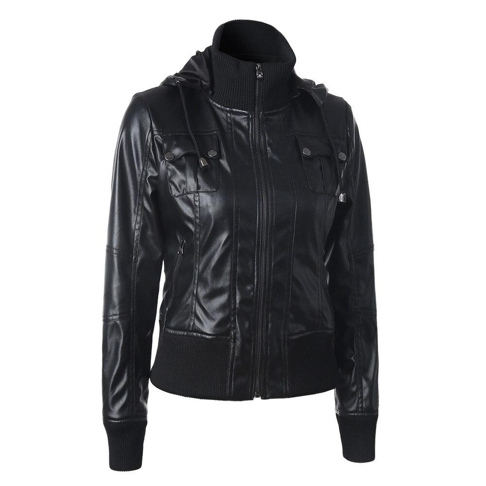 Осенне-зимняя куртка женская мода высокое качество кожаные куртки пальто Женская Повседневная Верхняя одежда с длинным рукавом черный jaqueta...