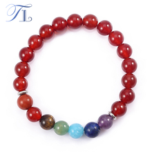 A&N Lucky Yoga Bracelets Natural Red Agate Mixed Rainbow Seven Chakra Beads Asian Top Selling Healing Bracelets Handmade Jewelry