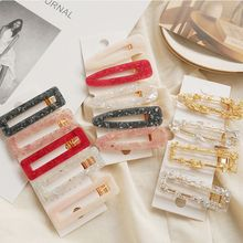 Women Girls Acrylic Hollow Waterdrop Rectangle Hair Clips Tin Foil Sequins Hairpins Barrettes Headbands Hair Accessories
