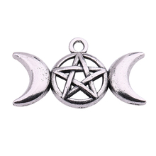 Skyrim Religious Pentagram Pentacle Star Moon Wicca Charms Pendants For Necklaces&Bracelets Jewelry Accessories Making 10Pcs