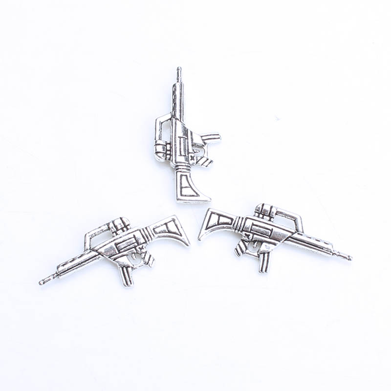 Jewelry & Accessories Cheap Price 10pc/lot 35*12mm Machine Gun Charms Antique Silver Tone Weapon Charm 2 Sided For Diy Charms Neckalce Jewelry Accessories Making
