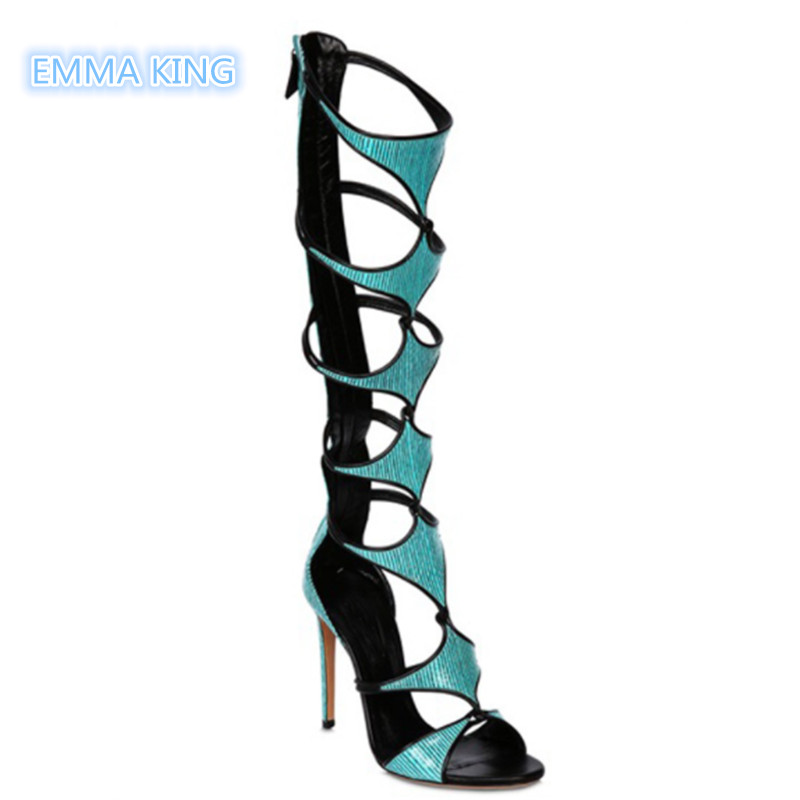 Fashion Over The Knee High Heels Summer Boots Women Hollow Stilettos Sandalias Mujer Back Zipper Sexy Catwalk Zapatos De Mujer