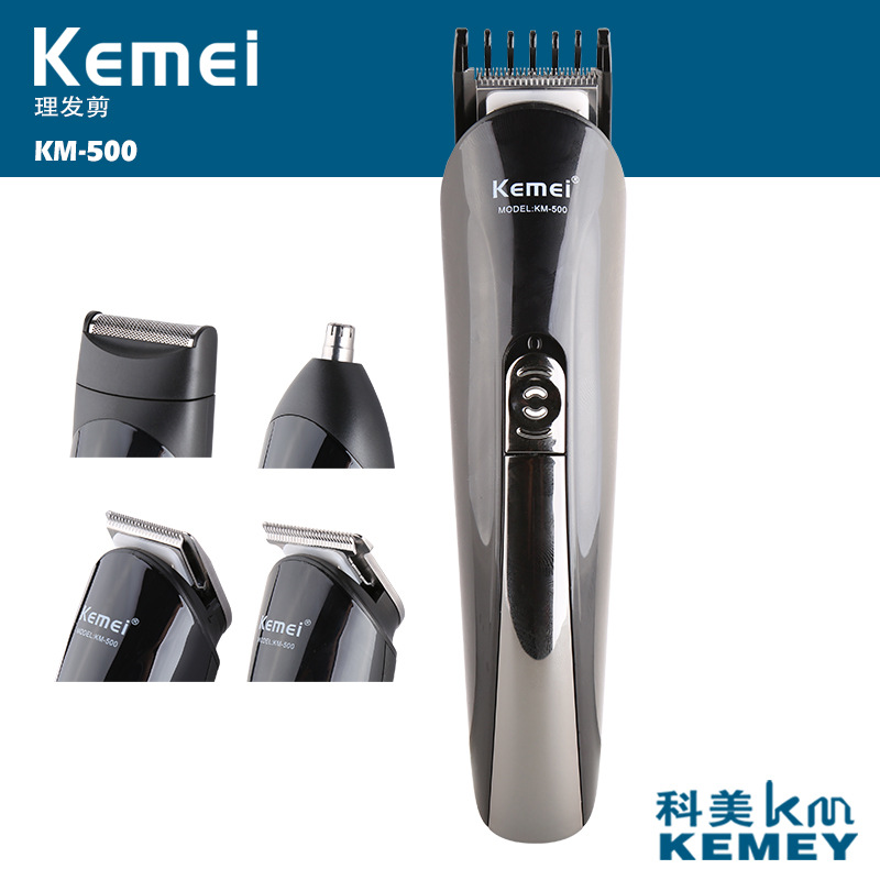 KM-500 kemei 6 in 1 hair trimmer titanium hair clipper electric shaver beard trimmer men styling tools shaving machine cutting