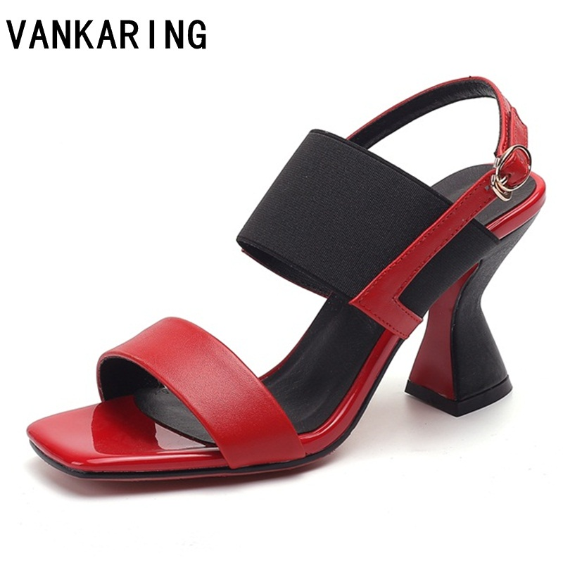 VANKARING genuine leather summer shoes woman gladiator sandals 2019 fashion high heels open toe women ladies