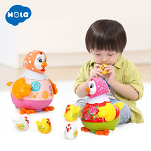 HOLA 6102 Chicken Toys Funny Animal Hens Lay Eggs Singing Dancing Electric Chicken Pet Toys for Children Gift(China)